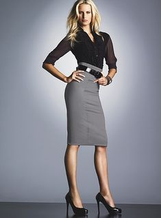 the perfect office style - grey pencil skirt Grey Pencil Skirt, Pencil Skirt Outfits, High Waisted Pencil Skirt, Gray Skirt, Pencil Skirts, Denim Skirt, Skirt Midi, Pencil Dresses, Black Pencil