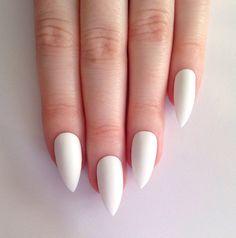 Matte white stiletto nails - $20.87