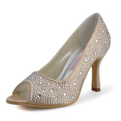 Amazing 3.5 RhinestonesPeep-toe Pumps - Party / Special Occasion shoes #iloveshoes #weddingshoes #eogowns
