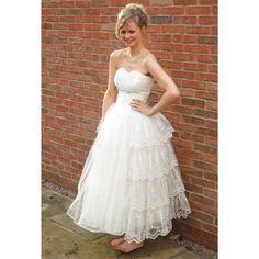 1950s cream tulle cupcake wedding dress - Star Bridal Apparel