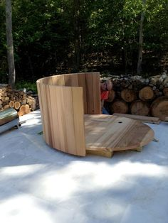 """Continuing my work on the """"earth, air, fire & water"""" theme in our """"back forty"""" out in our summer place in Springs, NY (see yurt raising here), I just (this weekend) finally finished getting the super cool, new wood stove powered hot tub ready for use."""