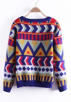a5056475081dcb Navyblue Geometric Pattern Tribal Round Neck Sweater - Sheinside.com Tribal  Patterns