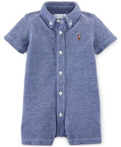 Ralph Lauren Baby Boys' Button-Up Oxford Shortall - Shop All Baby - Kids & Baby - Macy's