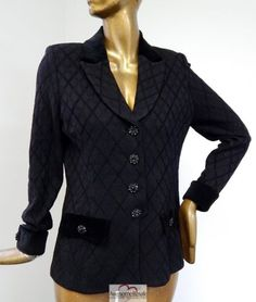 St-John-Evening-USA-Black-Knit-Velvet-Crystal-Button-Jacket-Blazer-sz-12