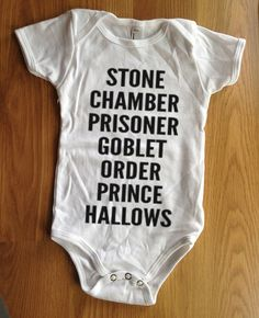 Harry Potter inspired unisex Baby onesie clothing shirt bodysuit - movie tribute list