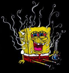 Cartoons Smoking Weed   Funny Spongebob Squarepants the Bong Smoker Pic