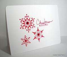 clean and simple card ... red snowflakes ... design based on visual triangle ... from Simplicity blog where I find good design tips ...