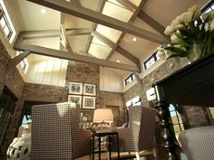 high ceiling, pitched roof, wood interior - love