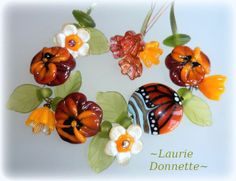 EverAfter~Bring me Spring Pansies and Butterfly ~ Handmade Lampwork beads SRA