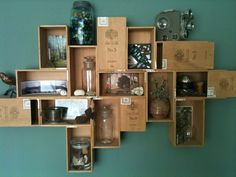 cigar boxes to wall shelf - smoke free decorating