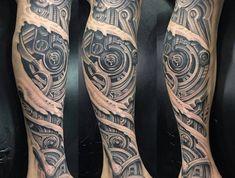 tattoo bein, realitische tätowierung am bein, tattoos für männer