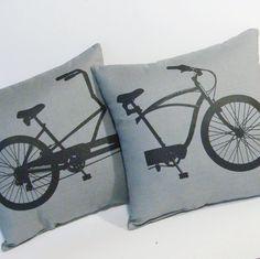 Lovers Tandem Bike- 2 Pillow Set GRAY, $30