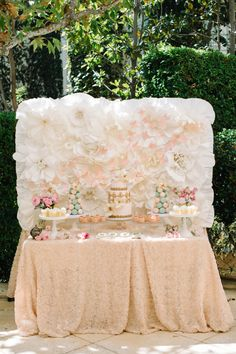 This dessert table and backdrop. Wow.