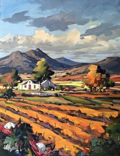 Purchase artwork Fields of Gold, Cape Vineyards - Acrylic Painting by South African Artist Carla Bosch