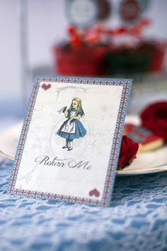The fab Alice in Wonderland Wedding Invitation and RSVP Card printables from Vintage Wedding Press features Alice, the White Rabbit and Mad Hatter sharing the news of A Very Important Date! Alice in Wonderland Wedding Ideas in Red and Blue | Confetti Daydreams