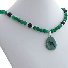 Aventurine and Onyx Dolphin Pendant Necklace, Spirit Animal Totem, Natural Gemestone Jewelry