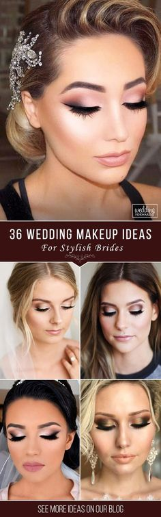 36 Wedding Make Up Ideas For Stylish Brides  Weve created collection of wedding makeup. There are ideas for unique make up elegant make up that will be appropriate for different eyes colours. See more: www.weddingforwar... #wedding #bride #weddingmakeup