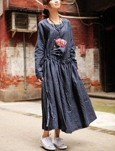Linen Dress in Blue -Linen Winter Dress- Long Dress- Made to order