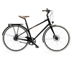 Le Flâneur d'Hermès A multi-purpose unisex city bike in extremely lightweight carbon fibre, Charcoal colour, with natural smooth bull leather on the contact points, 8 gears, size M, recommended for people between 1.65 m and 1.80 m