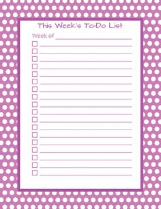 Weekly To-Do List Notepad (Standard or Magnetic): Polka Dot Design - Other Colors Can Be Custom Ordered --- Starting at $14.99 ---