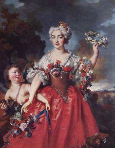 1730 Marquise de Gueydan as Flora by Nicolas de Largillière (Musée Granee - Aix-en-Provence France) | Grand Ladies | gogm