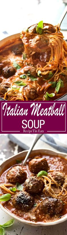 Italian Meatball Soup - Extra juicy, soft & tasty meatballs in a tomato spaghetti soup, all made in one pot! Italian Meatball Soup, Italian Meatballs, Spaghetti Soup, Soup Recipes, Cooking Recipes, Pasta Recipes, Savoury Recipes, Recipies, Dinner Recipes