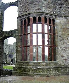 Raglan Castle medieval ruins, located in Monmouthshire, Wales.