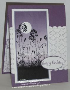 "By Sara Hoogendoorn. Uses stamps from ""Serene Silhouettes"" & ""Express Yourself"" by Stampin' Up. Embossing folder is ""Fancy Fan"" & border punch is ""Scallop Edge Border,"" also by Stampin' Up."