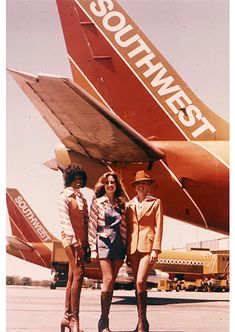 All three versions of Southwest's 1977 flight attendant uniform.