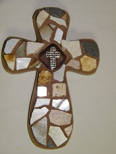 Mini brown cross, by Amy Glass, 4/15, www.facebook.com/mymosaiccloset