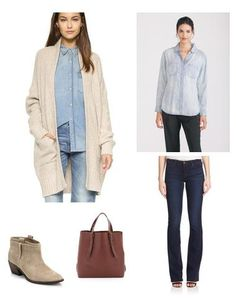 Denim-on-denim is a favorite of mine this season - mix it up with a great oversized cardigan and comfy ankle boots for a great casual weekend vibe.
