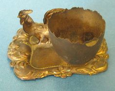 Charming Victorian Era Stamped Brass Rooster Tray Style Egg Cup from delmarclassique on Ruby Lane