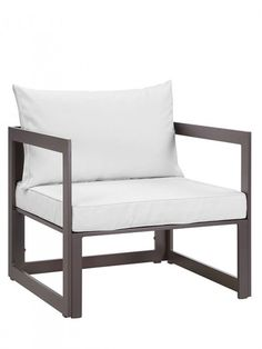 Star Island Outdoor Armchair | Brown / White Cushion | Modern Furniture • Brickell Collection