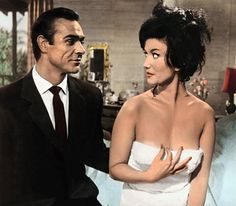 Marshall with Sean Connery as James Bond in Dr No . James Bond Images, Zena Marshall, Sean Connery 007, Best Bond Girls, Buddy Movie, George Lazenby, Timothy Dalton, Turner Classic Movies, Thing 1