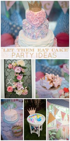 "A girly pastel royal ""Let them eat cake"" birthday party with a stunning cake!  See more party ideas at CatchMyParty.com!"