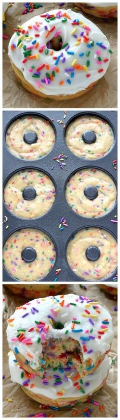 Vanilla Frosted Funfetti Donuts (Baked and Super Easy) It's officially the weekend! Time to ditch any weekday worries, pick up some rainbow sprinkles, and impress everyone with a batch of vanilla frosted funfetti donuts! Don't worry – they're baked, super Just Desserts, Delicious Desserts, Dessert Recipes, Yummy Food, Funfetti Kuchen, Funfetti Cake, Yummy Treats, Sweet Treats, Baked Doughnuts
