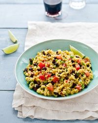 Black-Bean and Yellow-Rice Salad Recipe from Food & Wine -this will go great with the steaks I have marinating!!