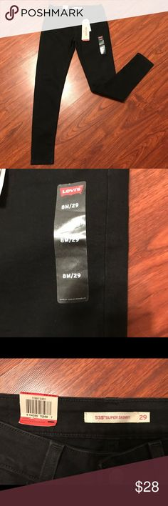 🖤🖤Nwt 535 super skinny Levi's black jeans🖤🖤 🖤🖤🖤NWT never worn 535 super skinny black Levi jeans.🖤🖤🖤🖤  Cotton polyester and elastane blend. Mid rise and slim through he hip and thigh. Very cute with any top!  Smoke free home.  Check out my other listings for bundled discount! Levi's Jeans Skinny