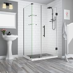 "Aston Bromley GS 44"" x 72"" Hinged Semi-Frameless Shower Door Finish: Oil Rubbed Bronze"
