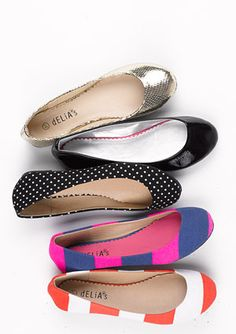 These fabulously retro flats are super affordable, which means you can pick 'em up in more than one pattern! $24.50 at delias.com