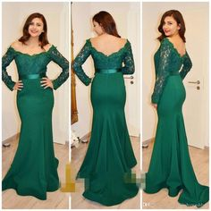 a53c706e5ef2 2017 Emerald Green Arabic Mermaid Prom Dresses Long Sleeves Lace Appliques  Vestidos De Fiesta Backless Evening Party Gowns With Ribbon Designer Long  Evening ...