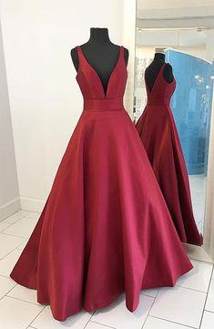 Simple burgundy deep v-neck formal dress
