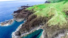 A drone image of the Point Binurong volcanic rock formation and natural landmark in the Catanduanes Province, Philippines.
