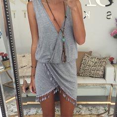 Grey knit fringe wrap summer dress