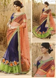 Navy blue net with smock Georgette inner with Embroidery http://www.angelnx.com/Sarees