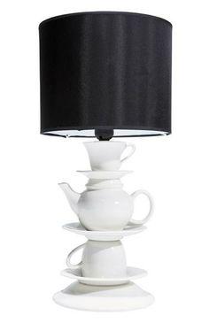KARE Design Tischlampe Tea Time Teekanne Silber Schirm Schwarz NEU