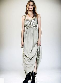 NWT Free People Special Edition taupy gray Embroidery Artemis Maxi Dress 12 $350 #FreePeople #fitflaremaxidressMaxi #Festive