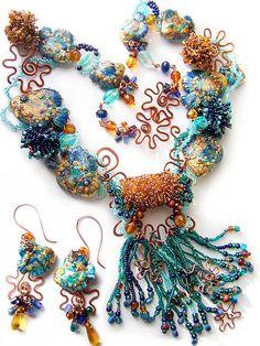 """Купить Комплект """"Сокровища Полинезии"""" - авторские украшения, морская тема, море, рыбки, колье и серьги"""