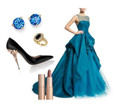 """Blue Grown Dress"" by klara-proch on Polyvore featuring Monique Lhuillier, Allurez, Kate Spade and Charlotte Tilbury"