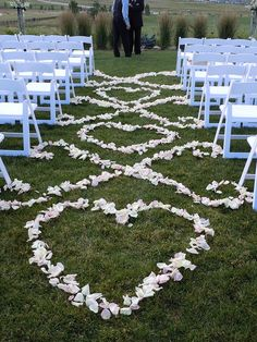 rose petals in a heart and swirl pattern for the ceremony aisle - but I wonder how will it hold when the wedding party walks down the isle ...